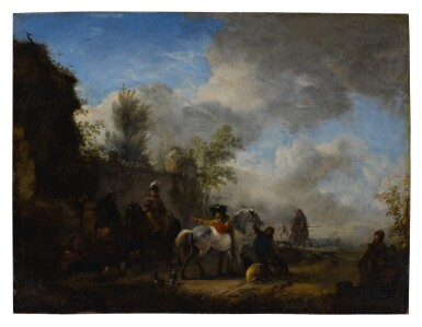 View 1. Thumbnail of Lot 536. PHILIPS WOUWERMAN | A CAVALIER AND A LADY HALTING AT AN INN.
