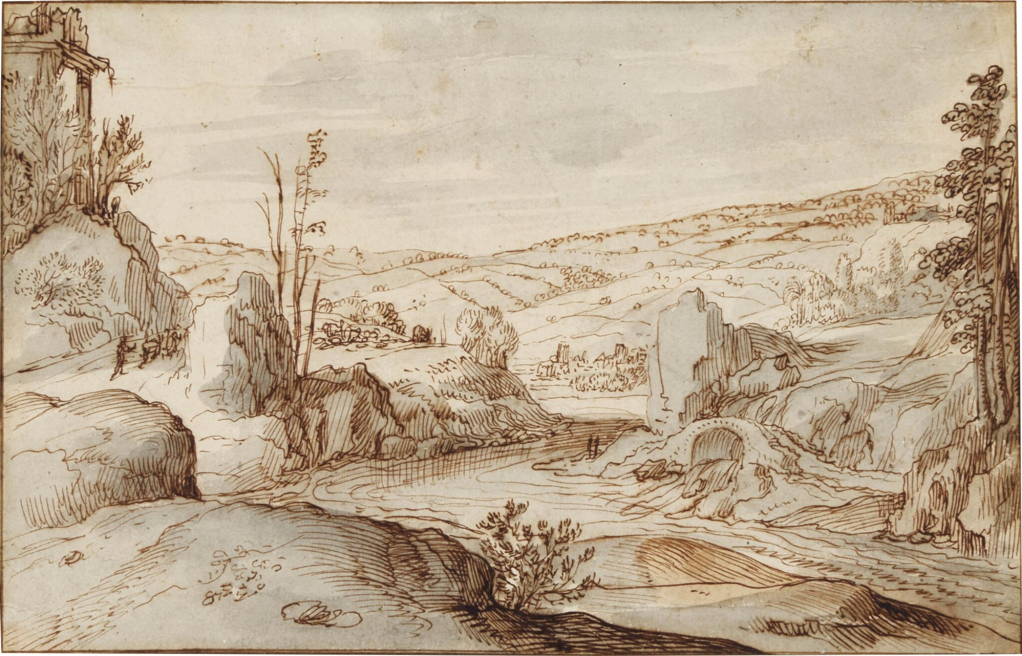 View full screen - View 1 of Lot 25. Rocky river landscape with a Herdsman on a road to the left.