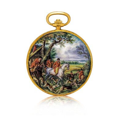 View 2. Thumbnail of Lot 2186. Patek Philippe | Reference 823/003, A unique, highly important and exceptional yellow gold hunting case watch with double sided enamel miniature, painted by Madame Marthe Bischoff after a painting by Carle Vernet, retailed by Gübelin and accompanied by original Certificate of Origin, sales invoice and presentation box, Made in 1976 | 百達翡麗 | 型號823/003  獨一無二、非常重要及非凡黃金獵殼懷錶,配 Madame Marthe Bischoff 摹 Carle Vernet 油畫作品的雙面微繪琺瑯,由 Gübelin 發行,附帶原廠證書、收據及盒子,1976年製.