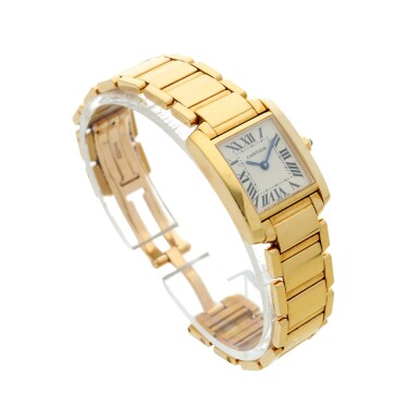 View 3. Thumbnail of Lot 84. REFERENCE 2385 TANK FRANCAISE A YELLOW GOLD RECTANGULAR BRACELET WATCH, CIRCA 1999.