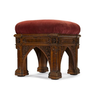 View 1. Thumbnail of Lot 168. A George IV carved and pollarded oak stool by Morel and Seddon, circa 1827-28, the design attributed to A. W. N. Pugin.