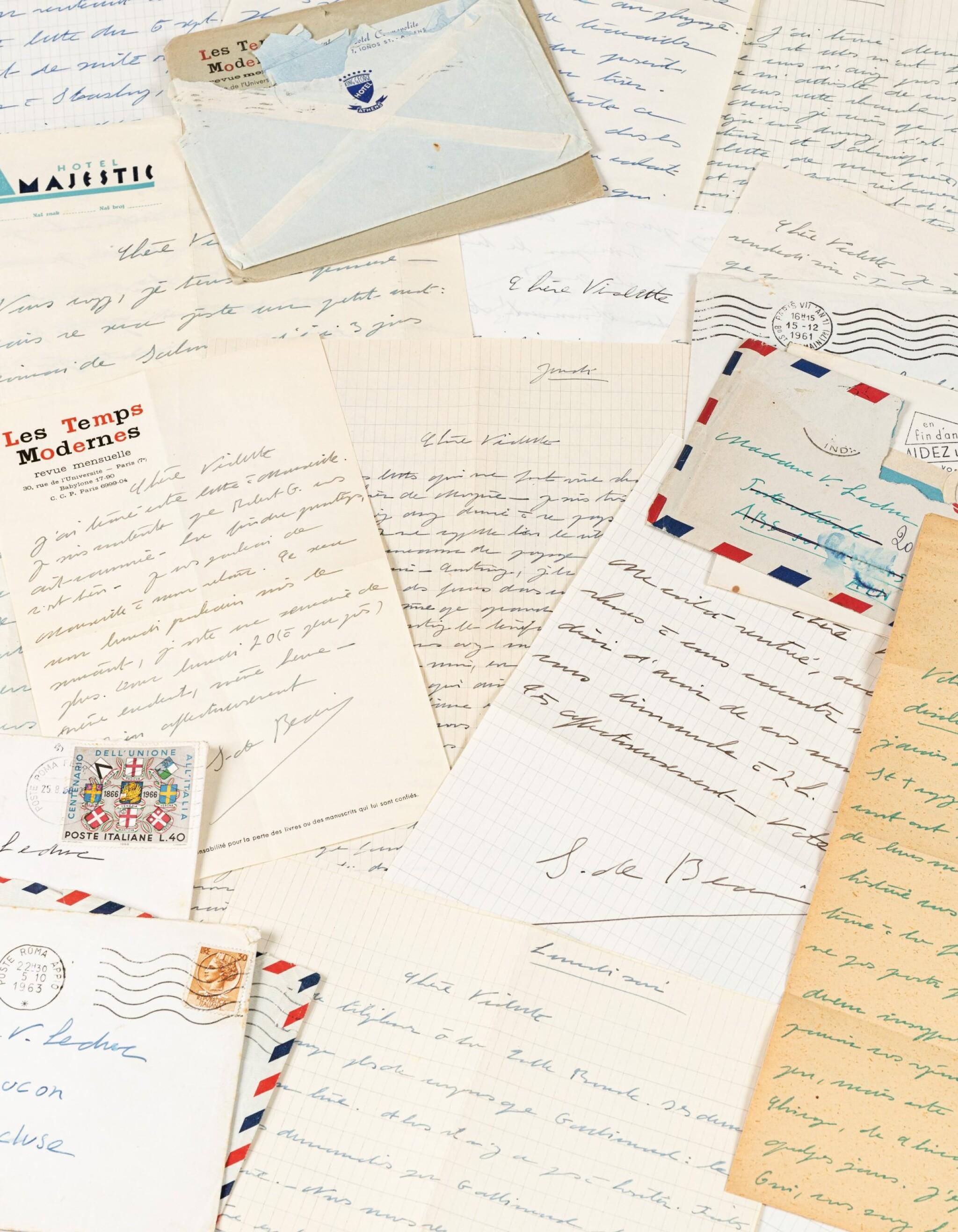 View full screen - View 1 of Lot 120.  Importante correspondance à Violette Leduc dévoilant leur amitié littéraire. 297 lettres.