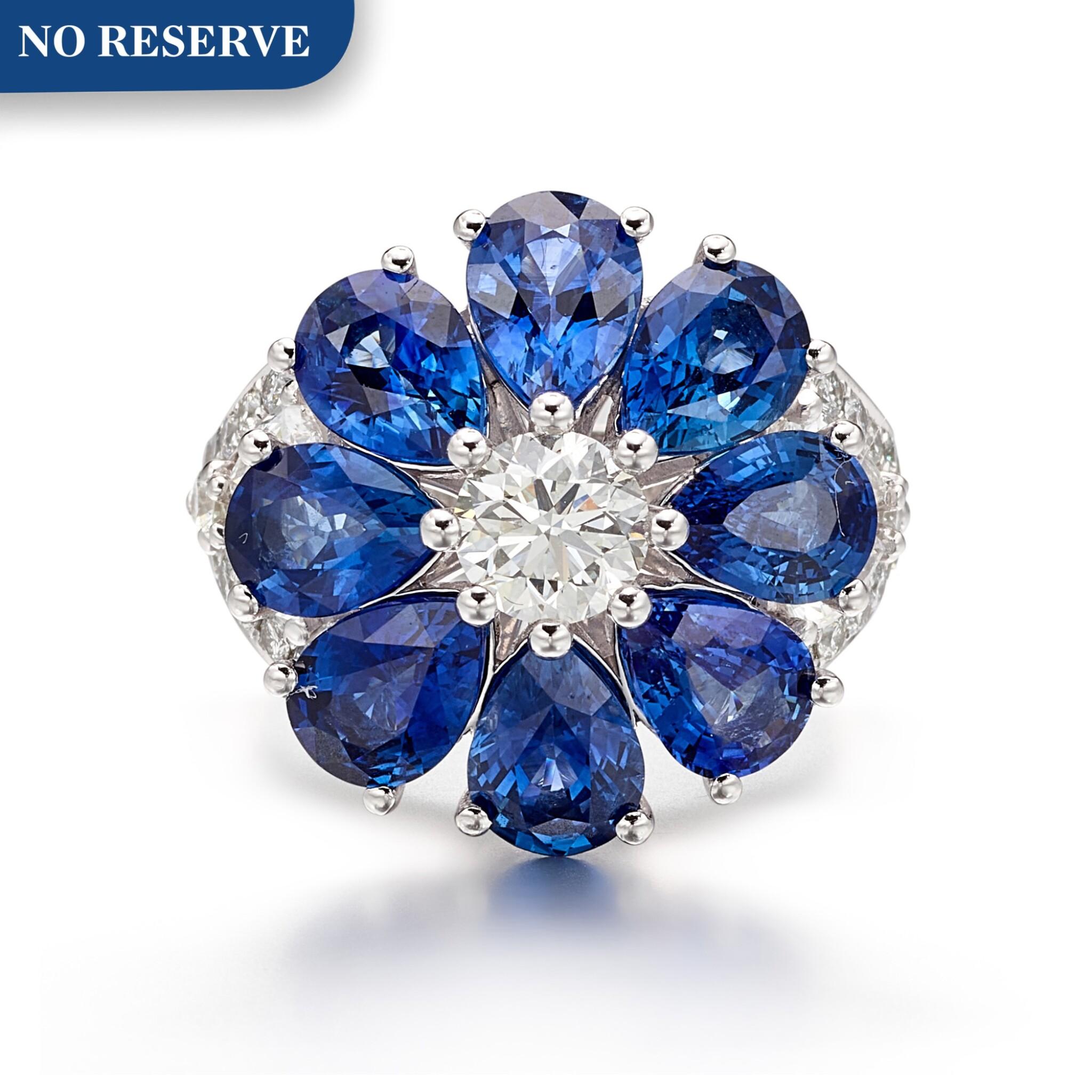 View full screen - View 1 of Lot 1021. Diamond and Sapphire Ring | 格拉夫| 鑽石 配 藍寶石 戒指 (鑽石及藍寶石共重約2.10及6.20克拉).