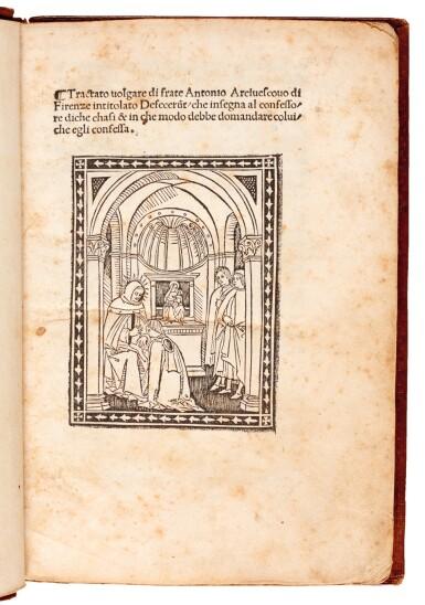View 1. Thumbnail of Lot 143. Antoninus Florentinus, Tractato...defecerunt, Florence, 1496, later diced calf gilt.