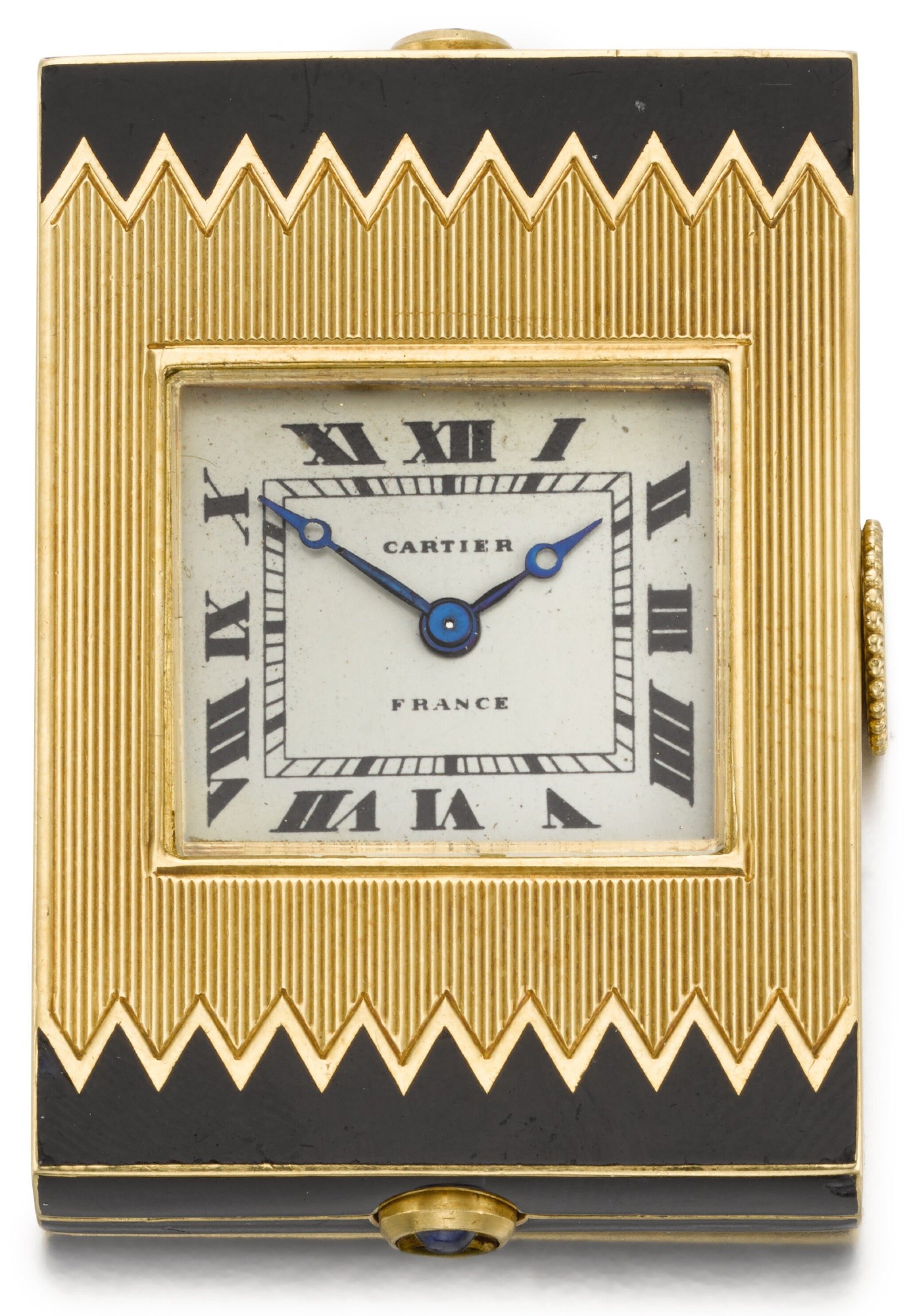 View full screen - View 1 of Lot 77. CARTIER, FRANCE   [卡地亞,法國]  | A GOLD AND ENAMEL PURSE WATCH WITH SPRUNG SHUTTERS  CIRCA 1930, ÉCLIPSE   [「ÉCLIPSE」 黃金畫琺瑯方形懷錶備彈簧開關,年份約1930].