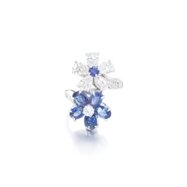 View 1. Thumbnail of Lot 14. Sapphire and diamond ring.