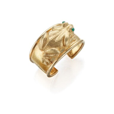 GOLD AND EMERALD CUFF-BRACELET, DAVID WEBB