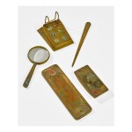 "TIFFANY STUDIOS | FIVE-PIECE ""ZODIAC"" DESK SET"