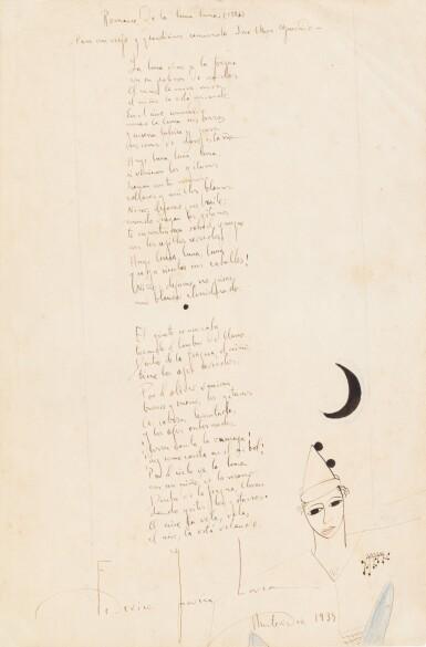 View 1. Thumbnail of Lot 150. Romance de la luna luna. 1934. Poème autographe signé, orné d'un dessin et offert à son ami Mora Guarnido.
