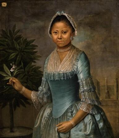 J. SCHUL.., MID 18TH CENTURY | PORTRAIT OF A LADY, THREE QUARTER LENGTH, HOLDING AN ORANGE TREE FLOWER