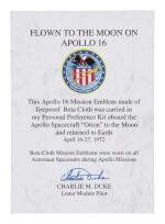 [APOLLO 16]. FLOWN ON APOLLO 16. EMBLEM SIGNED BY CHARLIE DUKE, WITH SUPPORTING DOCUMENTS