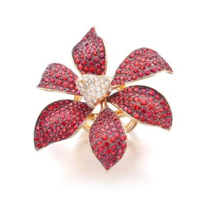 View 1. Thumbnail of Lot 21. MICHELE DELLA VALLE | ORANGE SAPPHIRE AND DIAMOND RING.