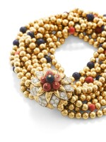 VAN CLEEF & ARPELS   BRACELET LAPIS-LAZULI, CORAIL ET DIAMANTS   LAPIS LAZULI, CORAL AND DIAMOND BRACELET