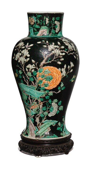 View 3. Thumbnail of Lot 1038. A FAMILLE-NOIRE 'BIRD AND FLOWER' BALUSTER JAR, QING DYNASTY, 19TH CENTURY.