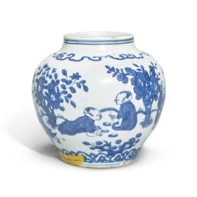 A SMALL AND RARE BLUE AND WHITE 'BOYS' JAR,  JIAJING MARK AND PERIOD