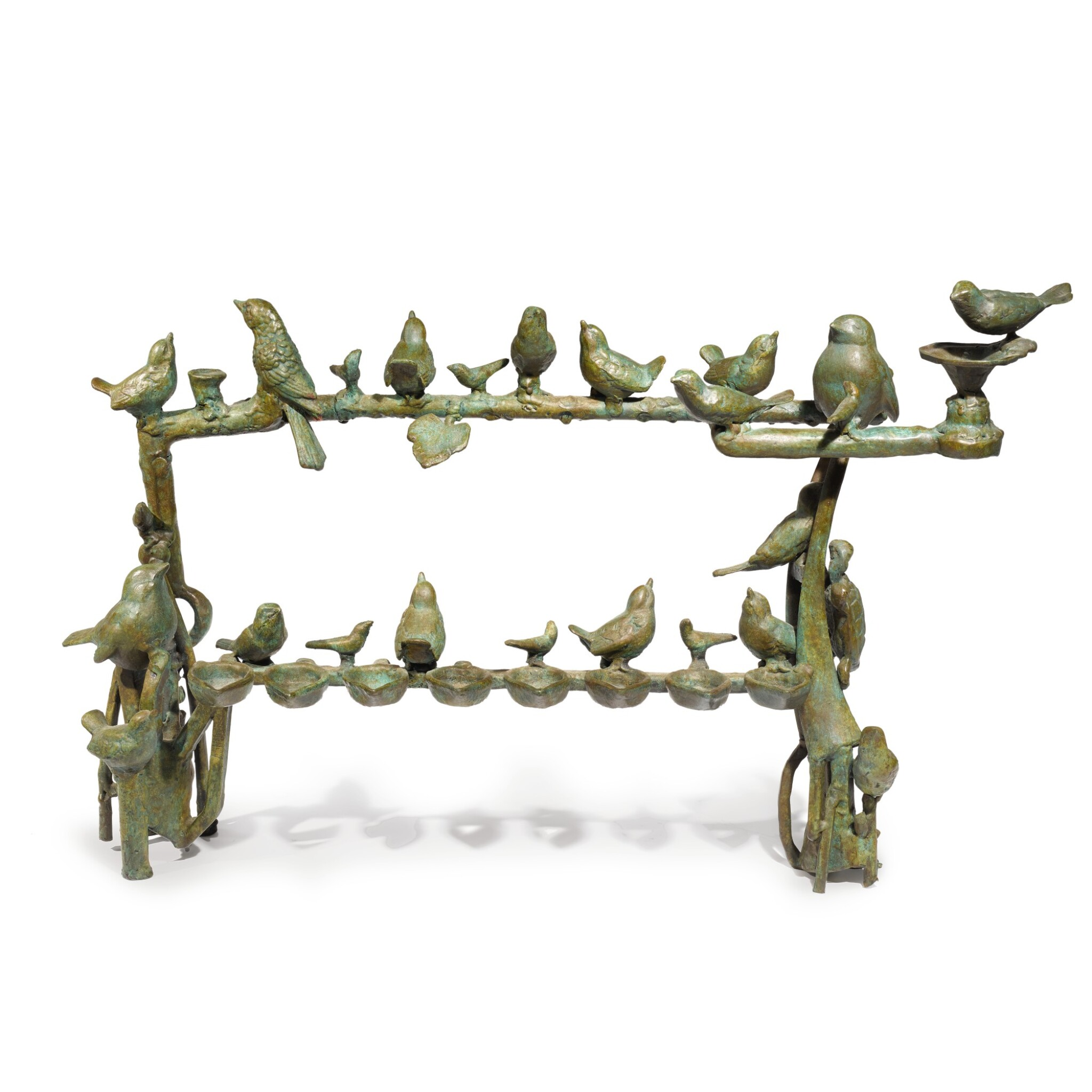 """View full screen - View 1 of Lot 131. A """"BIRD ON A WIRE"""" ISRAELI BRONZE HANUKAH LAMP, ILANA GOOR, LATER 20TH CENTURY."""