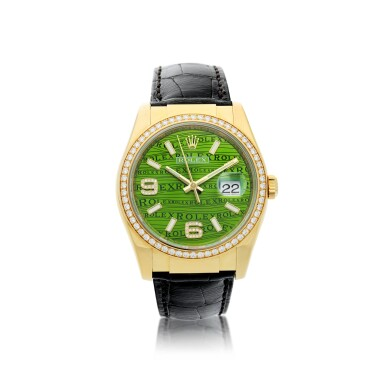 ROLEX | REFERENCE 116188 DATEJUST 'GREEN WAVES'  A YELLOW GOLD AND DIAMOND-SET AUTOMATIC WRISTWATCH WITH DATE, CIRCA 2005