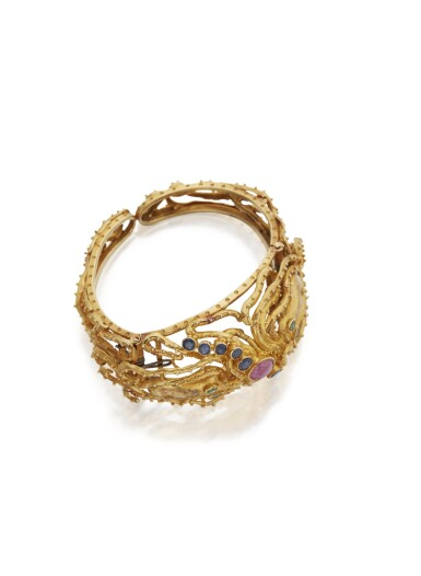 View 2. Thumbnail of Lot 105. GOLD, RUBY, SAPPHIRE AND EMERALD CUFF-BRACELET, ZOLOTAS.