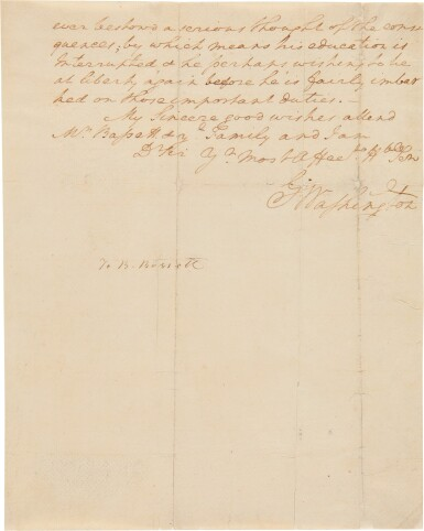 View 3. Thumbnail of Lot 267. Washington, George   A long and personal letter from Washington at Mt. Vernon.