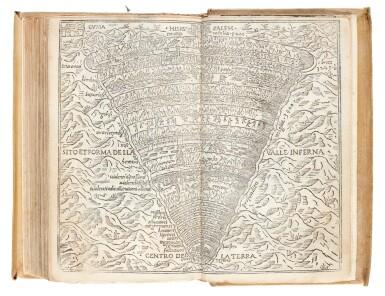 View 3. Thumbnail of Lot 100. Dante, Dante col sito e forma dell'Inferno, Venice, Aldus, 1515, old vellum.