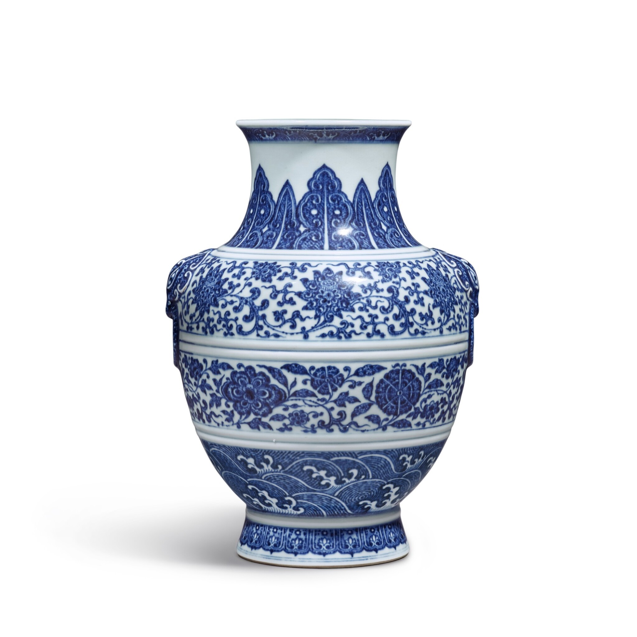 View full screen - View 1 of Lot 77. A fine blue and white 'floral' vase, Seal mark and period of Qianlong | 清乾隆 青花纏枝花卉紋鋪首耳尊 《大清乾隆年製》款.