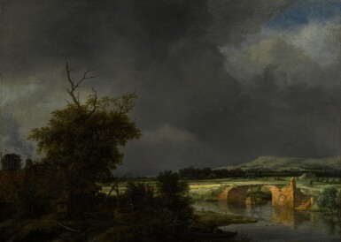 View 1. Thumbnail of Lot 10. Landscape with a cottage and stone bridge under a cloudy sky |《陰天下的茅屋與石橋風景》.
