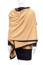 TWO-TONED CACHEMIRE ENSEMBLE WITH SHAWL, CHANEL