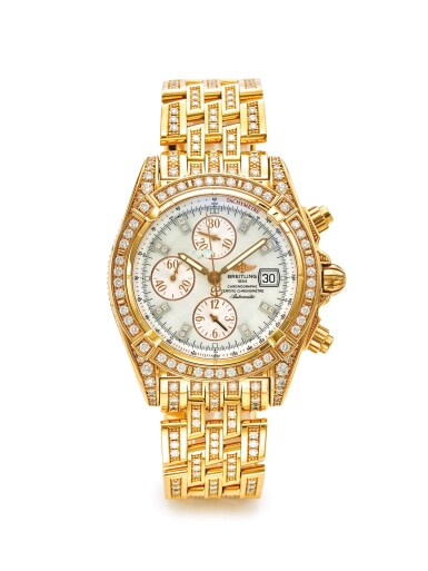 BREITLING | REF H1335673 CHRONOMAT EVOLUTION, A LIMITED EDITION PINK GOLD AND DIAMOND SET AUTOMATIC CHRONOGRAPH WRISTWATCH WITH DATE BRACELET AND MOTHER OF PEARL DIAL CIRCA 2008