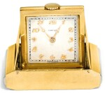 A SMALL TWO-COLOUR 18CT GOLD TRAVELLING TIMEPIECE, CARTIER, PARIS, CIRCA 1929
