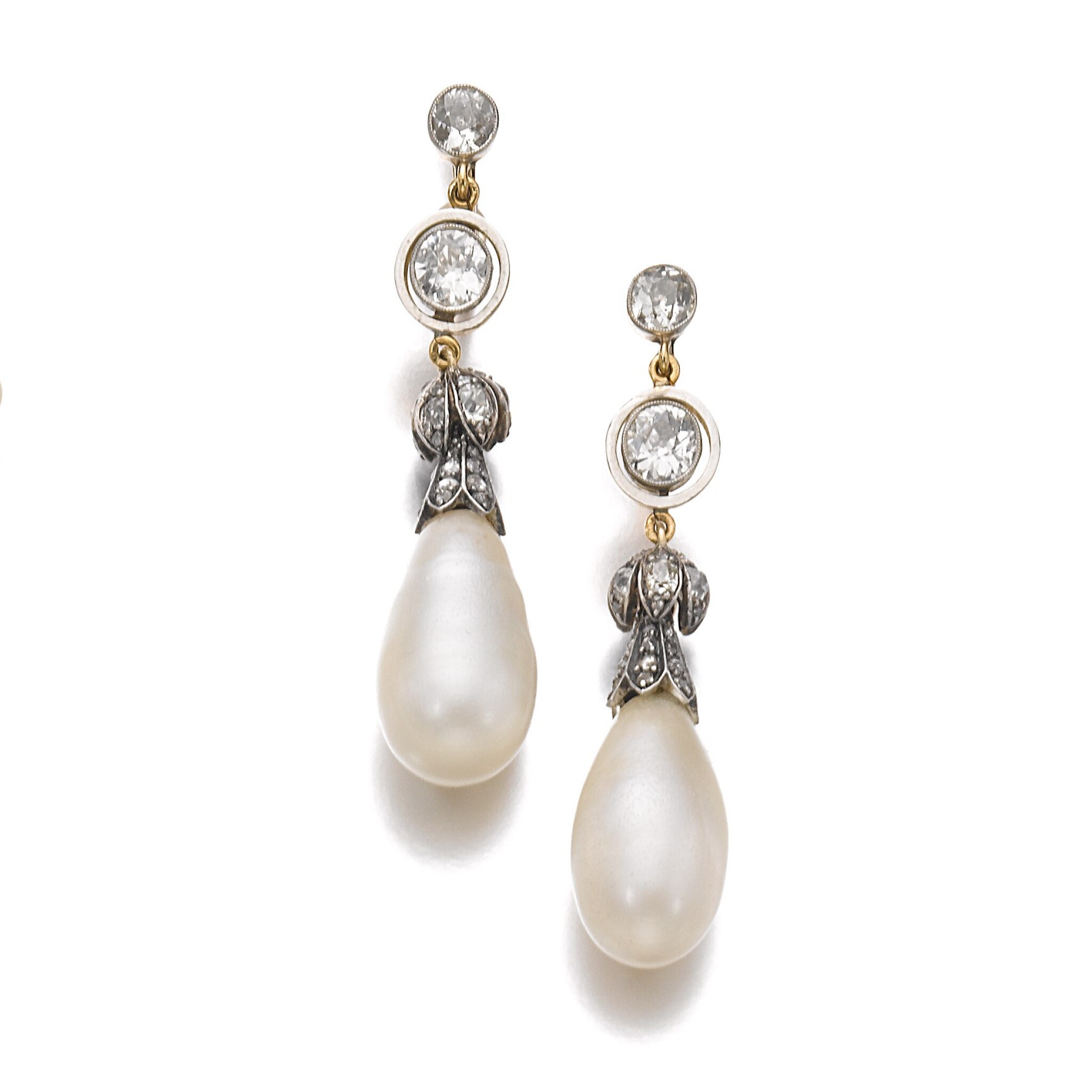 View full screen - View 1 of Lot 339. PAIR OF NATURAL PEARL AND DIAMOND EARRINGS, LATE 19TH CENTURY AND LATER.