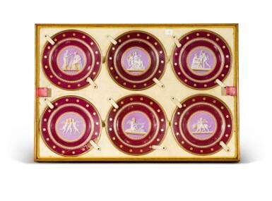View 3. Thumbnail of Lot 105. A Royal presentation set of eighteen Royal Copenhagen claret-ground plates, circa 1858.