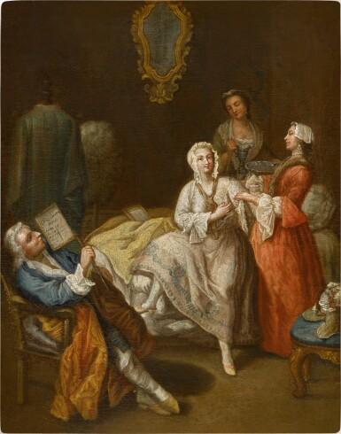 View 1. Thumbnail of Lot 191. An elegant lady at her morning ritual.