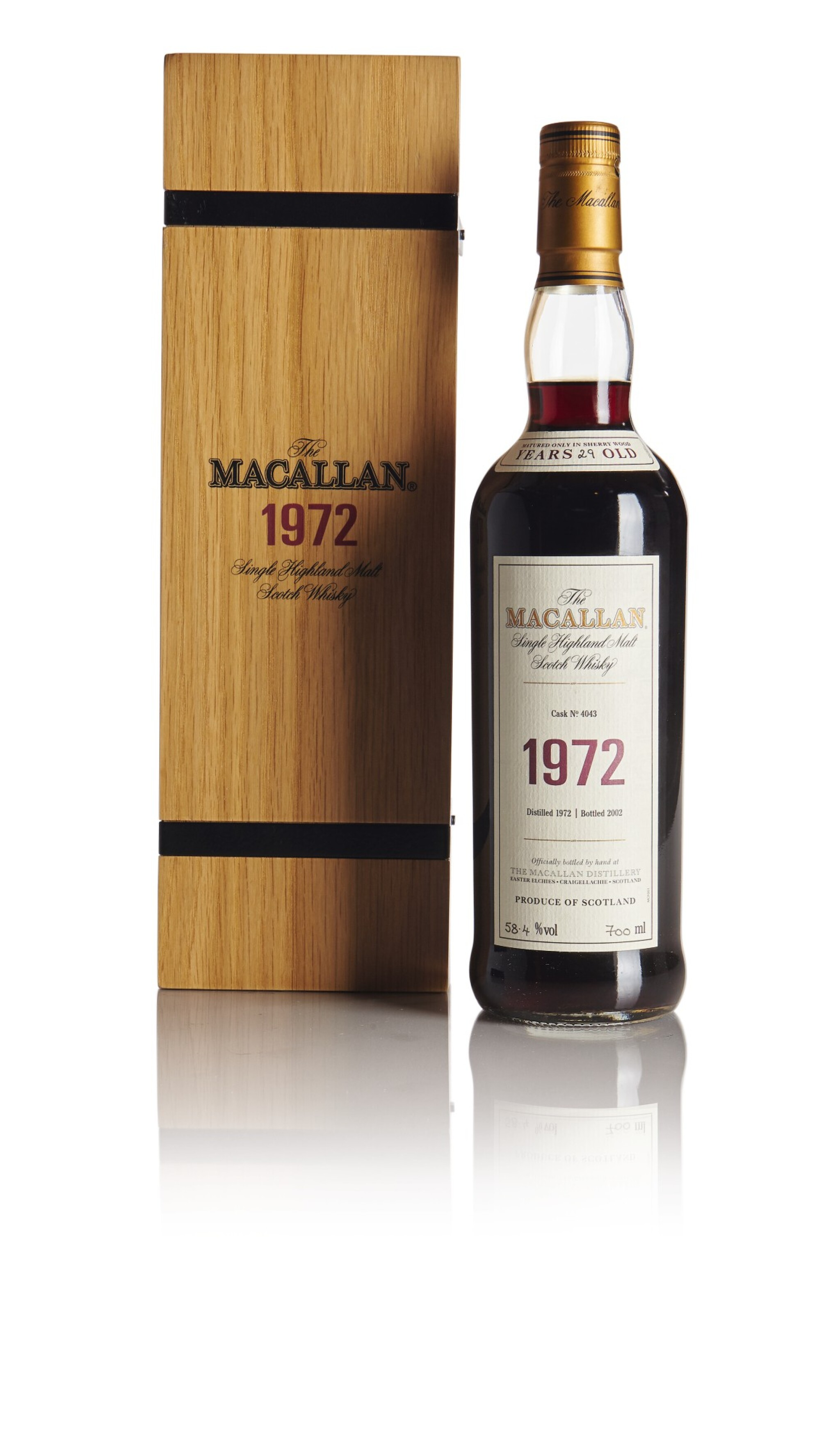 View full screen - View 1 of Lot 76. THE MACALLAN FINE & RARE 29 YEAR OLD 58.4 ABV 1972 .