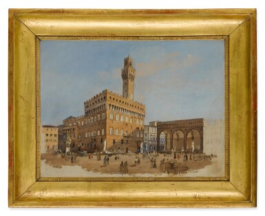View 2. Thumbnail of Lot 629. GIUSEPPE GHERARDI   A SKETCH OF THE PIAZZA DELLA SIGNORIA, FLORENCE.