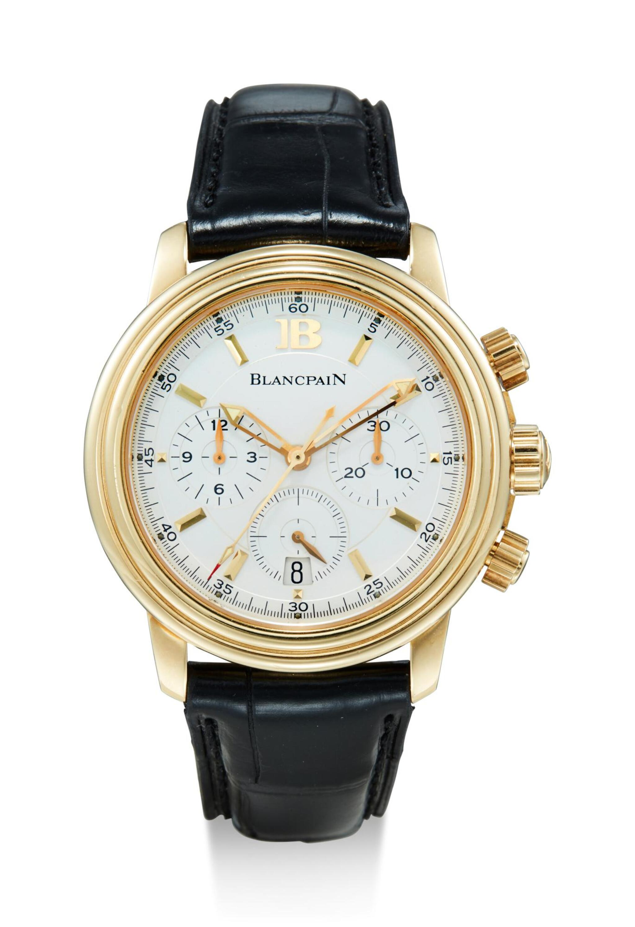 View full screen - View 1 of Lot 8119. BLANCPAIN | LÉMAN,  A YELLOW GOLD CHRONOGRAPH WRISTWATCH WITH DATE, CIRCA 2005.