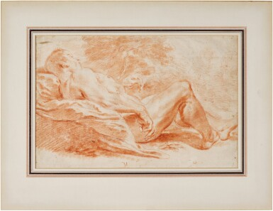 View 2. Thumbnail of Lot 30. Academy Study: Male nude reclining in a landscape.