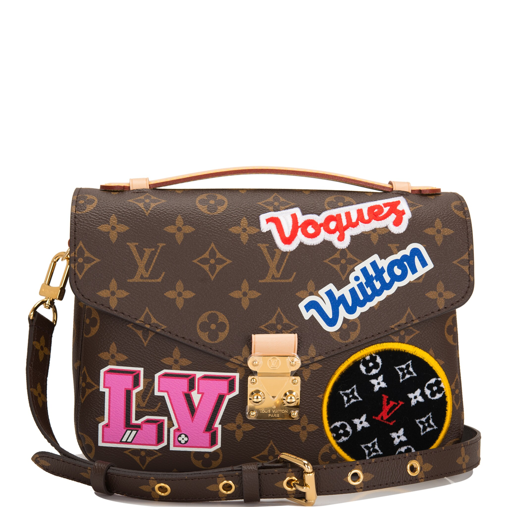 View full screen - View 1 of Lot 114.  Louis Vuitton Monogram Patches Pochette Metis of Coated Canvas with Golden Brass Hardware.