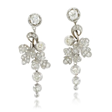 View 1. Thumbnail of Lot 129. Pair of diamond earrings, 19th century and later.