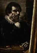 ORAZIO BORGIANNI | SELF PORTRAIT AS A PAINTER WITH PALETTE AND CANVAS