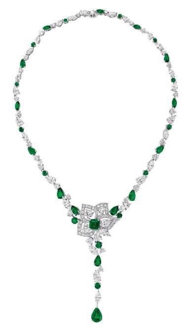 GRAFF | EMERALD AND DIAMOND 'PEONY' PENDANT-NECKLACE  格拉夫 | 祖母綠配鑽石「Peony」吊墜項鏈