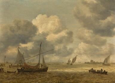 JAN JOSEFSZ. VAN GOYEN  |  COASTAL SCENE WITH SMALL VESSELS IN A CHOPPY SEA