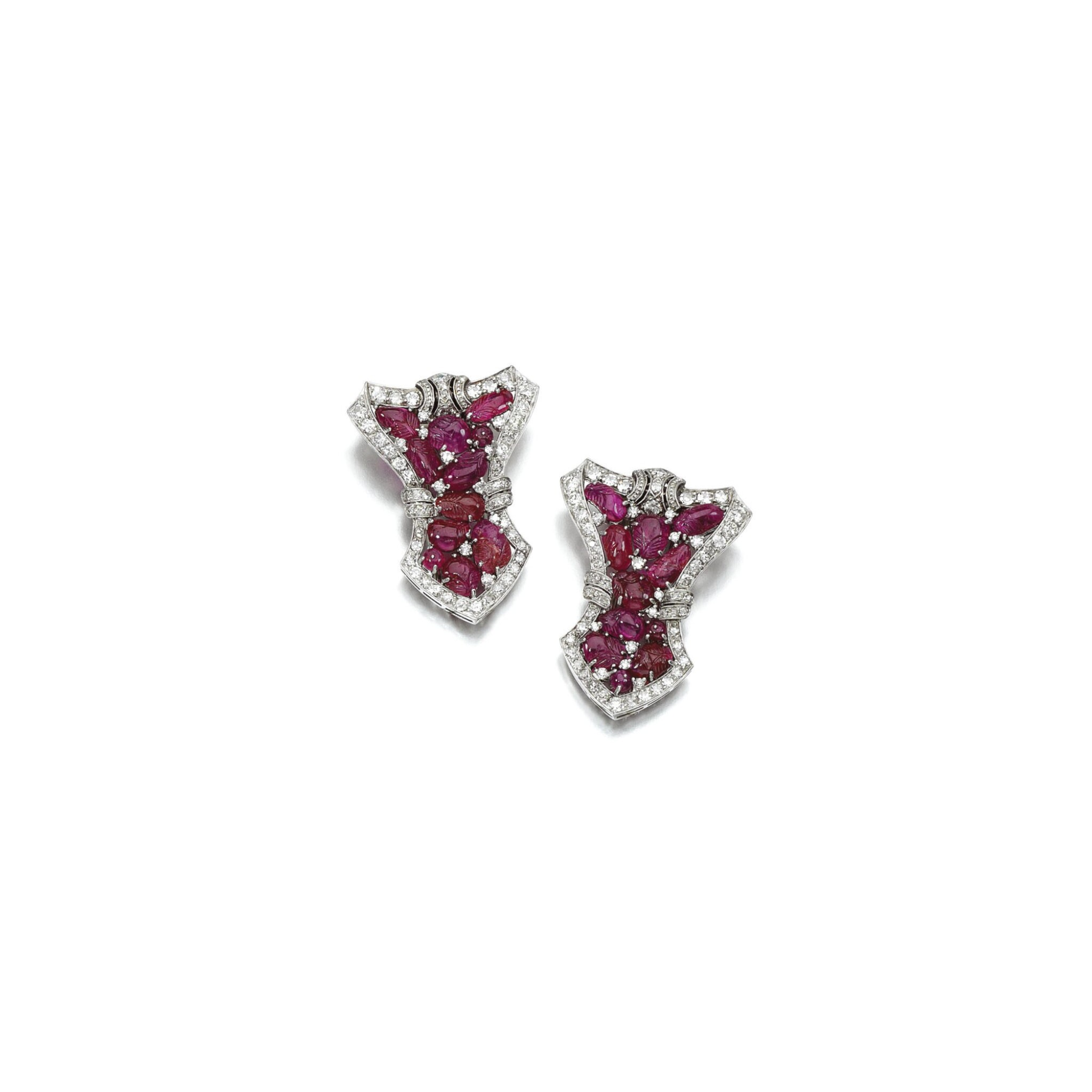 View 1 of Lot 18. PAIR OF RUBY AND DIAMOND DRESS CLIPS, 1930S.