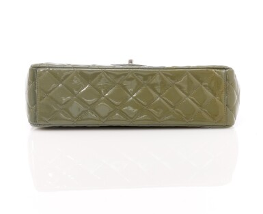 View 3. Thumbnail of Lot 43. Green/grey patent leather with silver-tone metal classic shoulder bag.