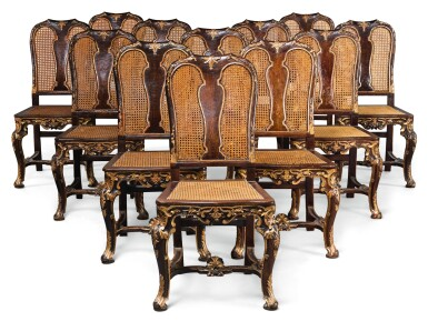 A GROUP OF TWELVE ITALIAN PARCEL-GILT CANED DINING CHAIRS, ROME IN 18TH CENTURY STYLE