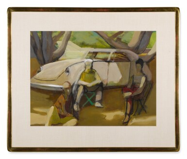 View 2. Thumbnail of Lot 1510. JAMES WEEKS | STUDY FOR TRIO ON THE PARK WITH CAR.