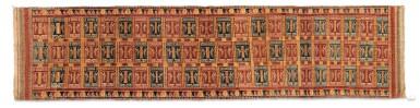 "View 1. Thumbnail of Lot 41. Tissu cérémoniel ""à jonques"" palepai, Lampung, Sumatra, Indonesia, ca.1900 | Ceremonial hanging ""ship cloth"" palepai, Lampung, Sumatra, Indonesia, about 1900."