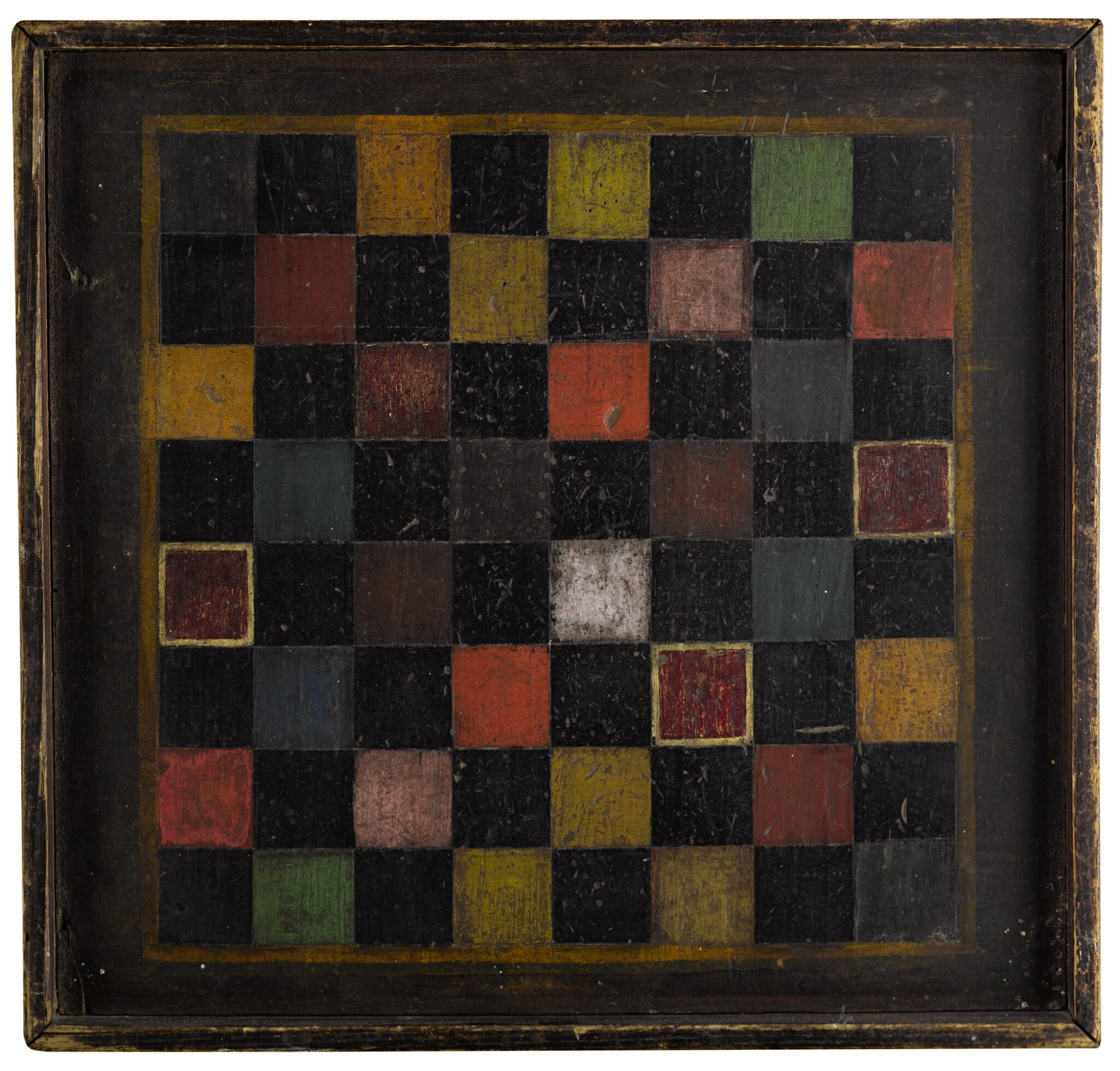 View full screen - View 1 of Lot 1450. UNUSUAL POLYCHROME-PAINTED PINE CHECKER GAMEBOARD, NEW ENGLAND, THIRD QUARTER 19TH CENTURY.