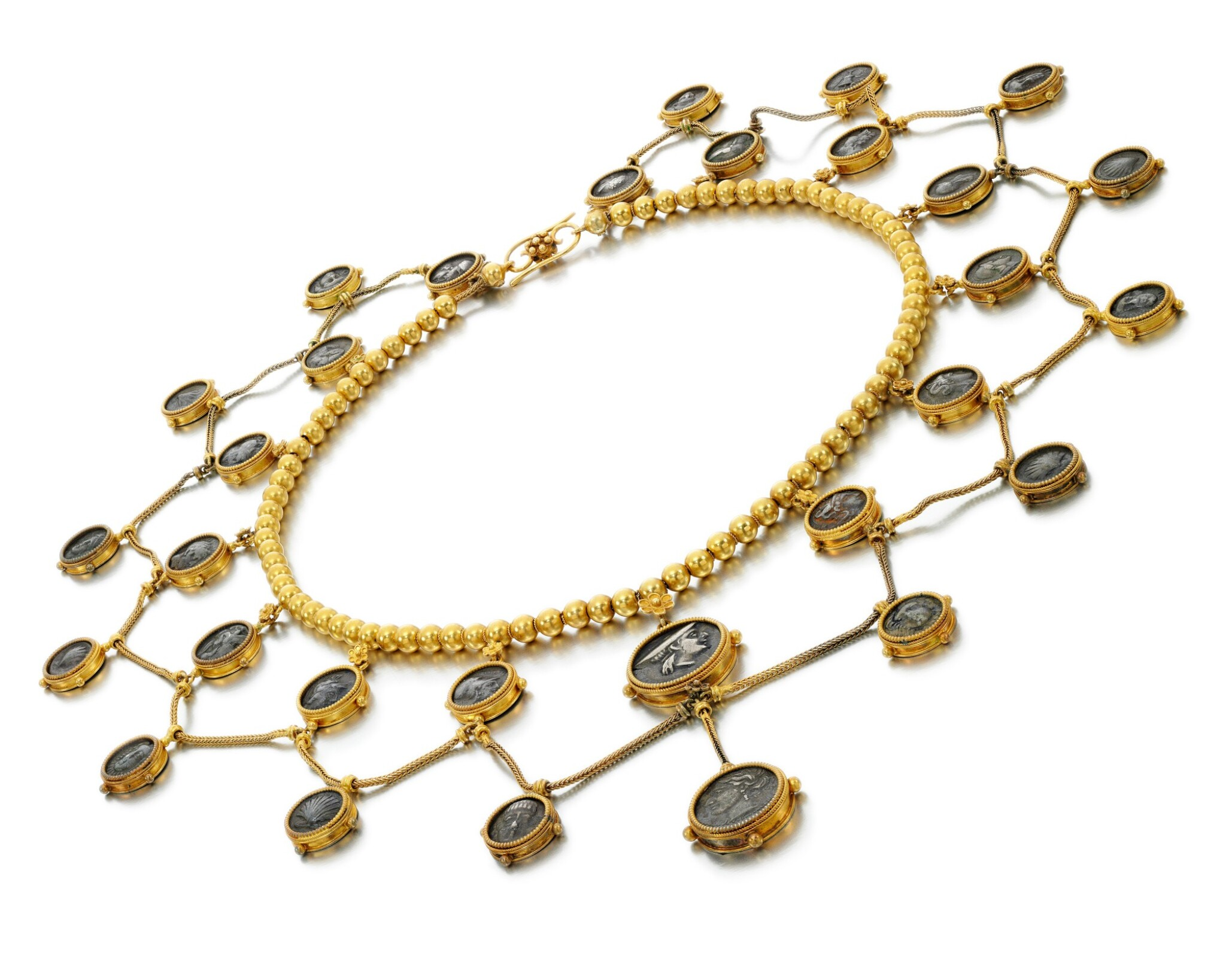 View full screen - View 1 of Lot 219. ATTRIBUTED TO CESARE TOMBINI | ANCIENT COIN NECKLACE.