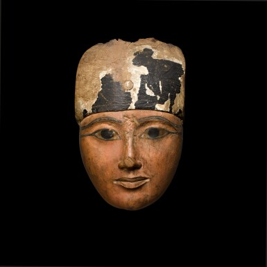 View 1. Thumbnail of Lot 57. An Egyptian Polychrome Wood Mask, 22nd/24th Dynasty, 944-716 B.C..