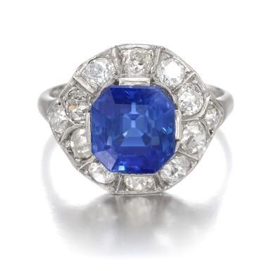 View 1. Thumbnail of Lot 634. Sapphire and diamond ring   藍寶石配鑽石戒指.